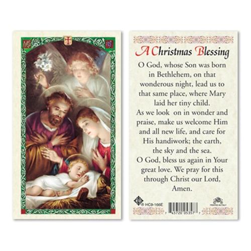 christmas blessing laminated prayer card