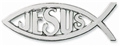Silver Colored Ichthus with Jesus Auto Emblem