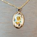 Gold Framed Mary with Child Necklace