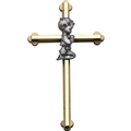 8 Inches Gold Cross with Praying Boy