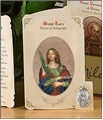 Saint Lucy (Salespeople) Holy Card with Medal