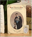 St. Vincent de Paul (Volunteers, Charity Workers) Holy Card with Medal