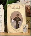 Saint Martin de Porres (Hairdressers, Barbers) Holy Card with Medal