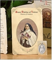 Saint Therese of Lisieux (Aviators, Flight Attendants) Holy Card with Medal