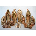 12 Inch Wood-Grain Texture Nativity Set