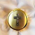 Size 4 INRI Crucifix Gold Cast Pyx with Pewter Crucifix