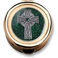 Size 1 Green Enamel Celtic Cross Gold Cast Pyx