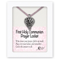 Communion Prayer Locket on Pink Satin Cord