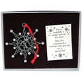 Peace Snowflake Pewter Ornament with Crystals in Gift Box