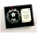 Peace on Earth Wreath Pewter Ornament with Crystals