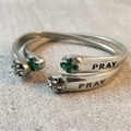 Adjustable Pray Bracelet with Green Rhinestones