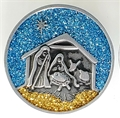 Nativity Scene Pocket Coin with Color Glitter Epoxy