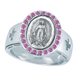 Pink Gem Miraculous Medal Ring sizes 5-8