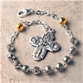Silver Rosebud Rosary Bracelet with 4-way Cross