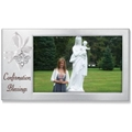 Satin Silver Confirmation Ribbon Frame with Dove Charm & White Ribbon