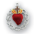 Sterling Silver Red Enameled Heart Crown of Thorns Medal