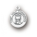 Sterling Silver Small Round Communion Medium with 18 Inches Chain , Boxed