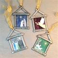 4 Piece Nativity Ornament Set in Pewter