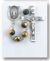 Metallic Gold Tin Cut Crystal Rosary