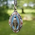 Silver and Blue Enamel Miraculous Necklace