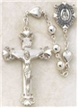 All Sterling Silver Rosary with Heart Beads