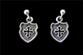 Sterling Silver Earrings - Cross in Shield