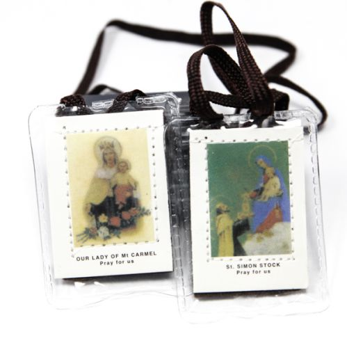 Our Lady of Mt Carmel Scapular in Plastic - Brown Cord