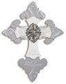 Silver 25th Anniversary Rhinestone and Ribbon Wall Cross