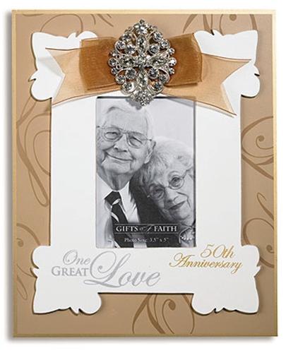 Gold 50th Anniversary Rhinestone Photo Frame