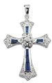 Sterling Silver and Sapphire Cross Necklace