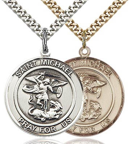michael archangel arcangel necklace st san medal spanish by bliss manufacturing pendant miguel