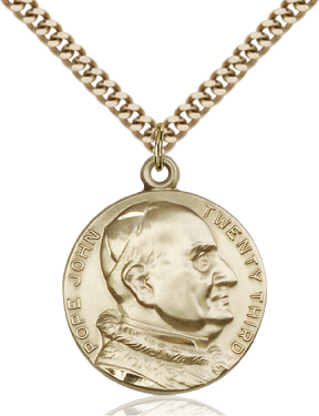 Gold Filled St. Pope John XXIII Pendant on 24 inch Chain