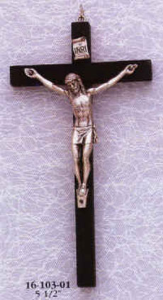 5.5 inch Black Wood Crucifix with Pewter Corpus