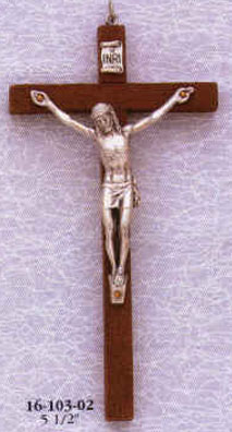 5.5 Inches Brown Wood Crucifix with Pewter Corpus