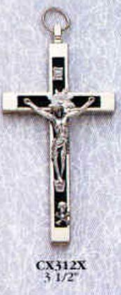 3 Inch Black and Metal Crucifix Pendant