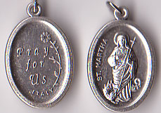 St. Martha Inexpensive Oxidized Medal