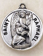 St Raphael Round Sterling Silver Medal