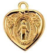 Gold Filled Miraculous Heart Shaped Medal