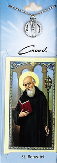 St Benedict Prayer Card with Pewter Medal