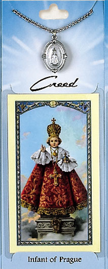 Infant of Prague Prayer Card with Pewter