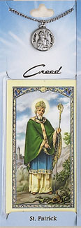 St Patrick Prayer Card with Pewter Medal