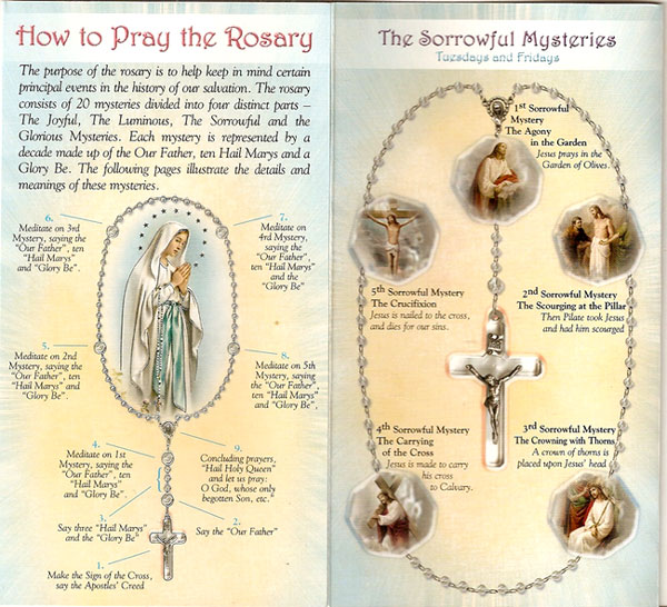 White Rosary Prayer Instruction Card, sets of 20