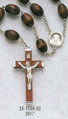 30 inch Family Brown Wood Rosary