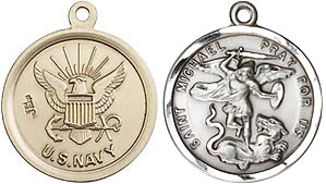 Round Sterling Silver Navy & St Michael Medal