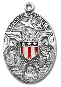 Military 3-Way Sterling Silver Medal