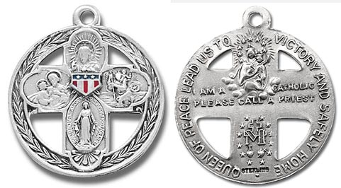 Four Way Military Catholic Vintage Medal