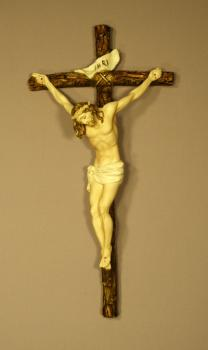 Hand-Painted Alabaster Crucifix by Ado Santini