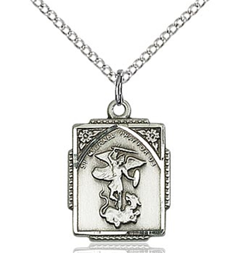 Vintage Style St Michael Necklace - Gold or Silver