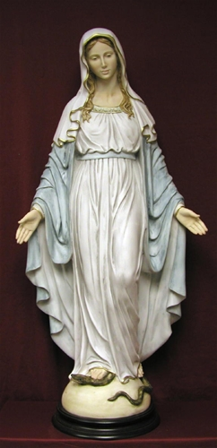 36 Inch Lady of Grace in hand-painted alabaster