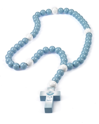 Large Blue Wood Baby Baptism Rosary in Gift Box